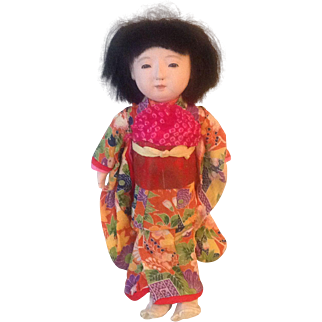 Very sweet vintage Japanese doll dressed  in wonderful kimono and Japanese socks