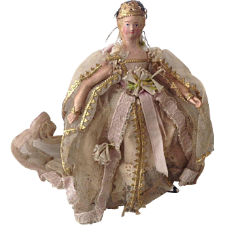 Really stunning and rare very early little German fairy doll circa 1830