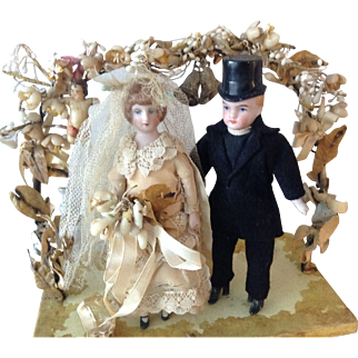 Beautiful Antique Hertwig wedding cake decoration dolls