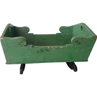 Antique Swedish dolls cradle with original paint circa 1900