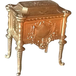 Pretty antique gilt metal French jewellery box ideal for display with fashion dolls 19th century