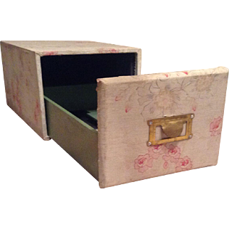 Vintage wooden filing box covered in original vintage fabric, circa 1920.