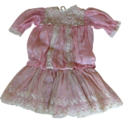 Wonderful antique French silk and lace dolls dress to suit doll around 20 inches tall