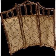 Antique dolls house tri folding screen