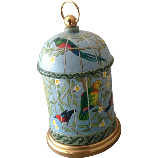 Vintage hand painted musical bird cage
