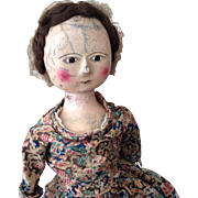 Rare antique early English George II wooden doll, circa 1760.