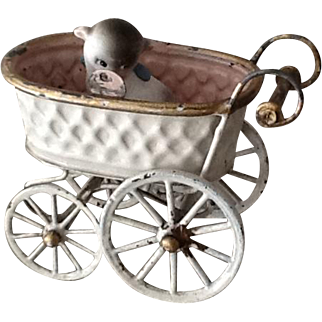 Sweet little antique metal dolls carriage by Bing