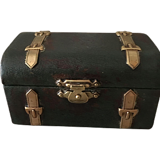 Antique little leather Harrods trunk-ideal for dolls