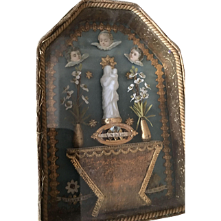 Antique tiny 19th century French prayer box for fashions dolls