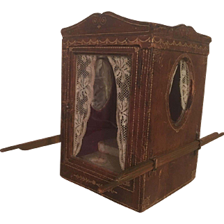 Antique Victorian sedan display box - ideal for small dolls