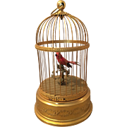 Antique French Bontems automaton bird in cage