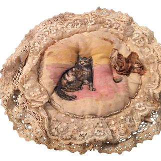 Antique small cushion with embroidered cat