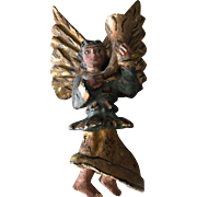 Rare 19th century wooden carved angel