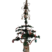 Beautiful rare antique Victorian goose feather Christmas tree with antique decorations!