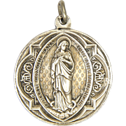 French Antique Silver Double Sided Medal - Virgin Mary and St Aloysius Gonzaga