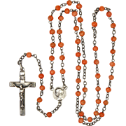 French Circa 1900-1910 Silver and Coral Rosary