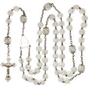 French Victorian Rock Crystal and Silver Rosary