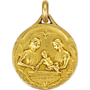 French Circa 1900 18K Gold Filled Angels Baptismal Medal