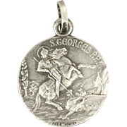 French Antique St George and Dragon Silver Medal - PENIN PONCET