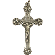 Victorian Silver Metal Crucifix with Cherubs
