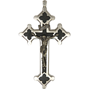 French Gothic Style Silver Metal Cucifix with Ebony Inlay