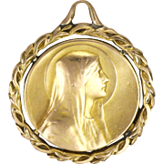 French Art Deco Gold Plated Virgin Mary Medal - TAIRAC