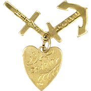 English 9K Gold Faith Hope and Charity Charms