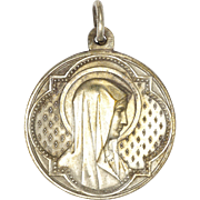 French Circa 1910 Silver Plated Mary Lourdes Medal  - PENIN PONCET