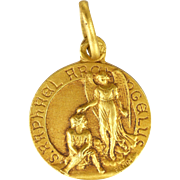 French Gold Filled St Raphael the Archangel Medal or Charm