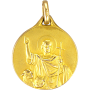 French 18K Gold Filled St. John the Baptist & Lamb Medal - FIX