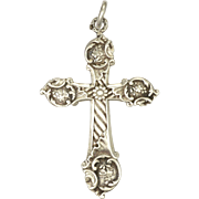 French Circa 1900 Silver Decorative Cross