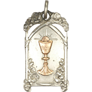 French Circa 1900-1910 Silver and Gold Overlay Communion Medal