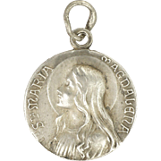 French Mary Magdalene Silver Medal or Charm - Emile Dropsy