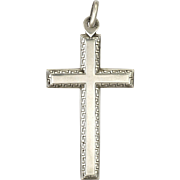 French Silver Greek Key Border Cross
