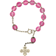 French Silver and Glass Bead Dizainier Rosary Bracelet with Communion Cross