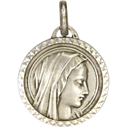 French Silver Virgin Mary Lourdes Medal