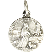 Fremch St Genevieve and Sheep Silver Medal Charm - PENIN PONCET