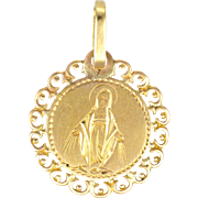 French 18K Virgin Mary Charm or Medal