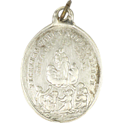 French 19C Silver Virgin and Child and Sacred Hearts Medal