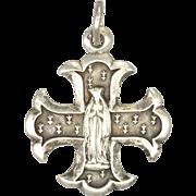 French Circa 1900 Silver Cross Lourdes Medal or Charm