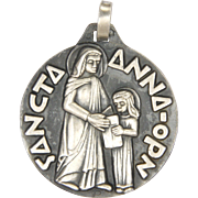 French Silver St Anne and Virgin Mary Medal - FERNAND PY