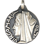 French Silver Modernist Virgin Mary Medal - FERNAND PY