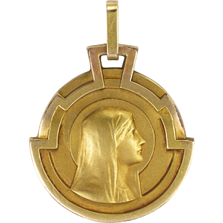 French Art Deco Gold Filled Virgin Mary Pendant or Charm