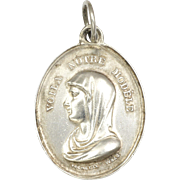 French 19C Silver Virgin Mary and Angel Medal - Vachette Waag