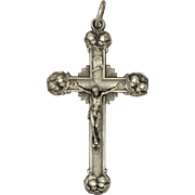 French Silvered Metal Crucifix with Cherub's Heads