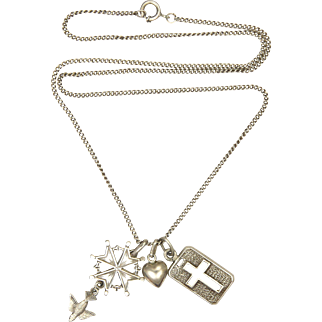 French Silver Religious Charm Necklace
