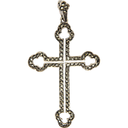 Sterling Silver and Marcasite Gothic Style Cross