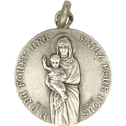 French Silver Our Lady of Fourvière Double Sided Medal - Penin Poncet