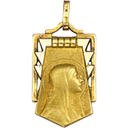 French Art Deco Gold Filled Virgin Mary Pendant or Charm - FIX
