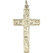 English Edwardian 1905 Silver Engraved Cross Pendant - HC&S Ltd